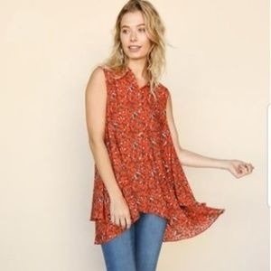 Floral Sleeveless High-Low Blouse